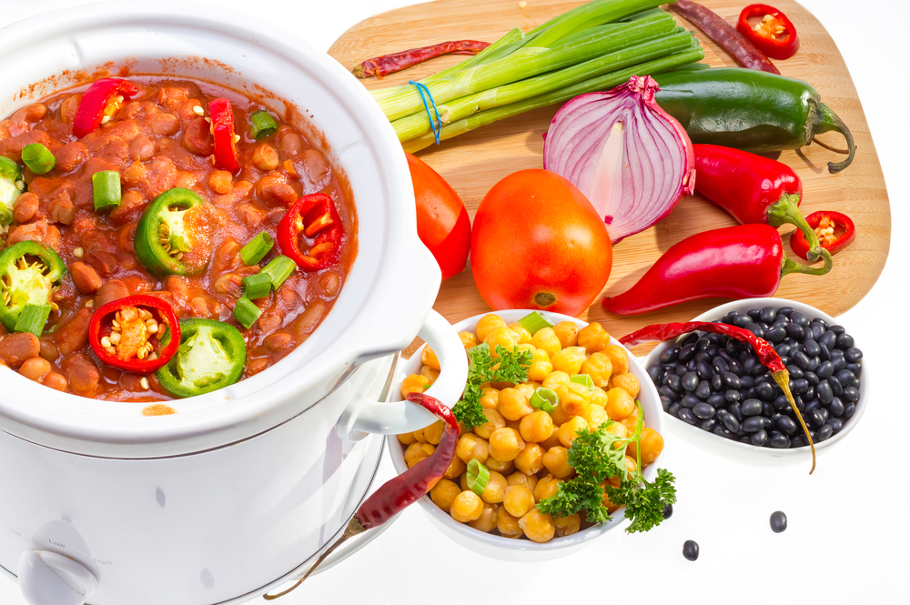 Beans cooked in slow cooker.
