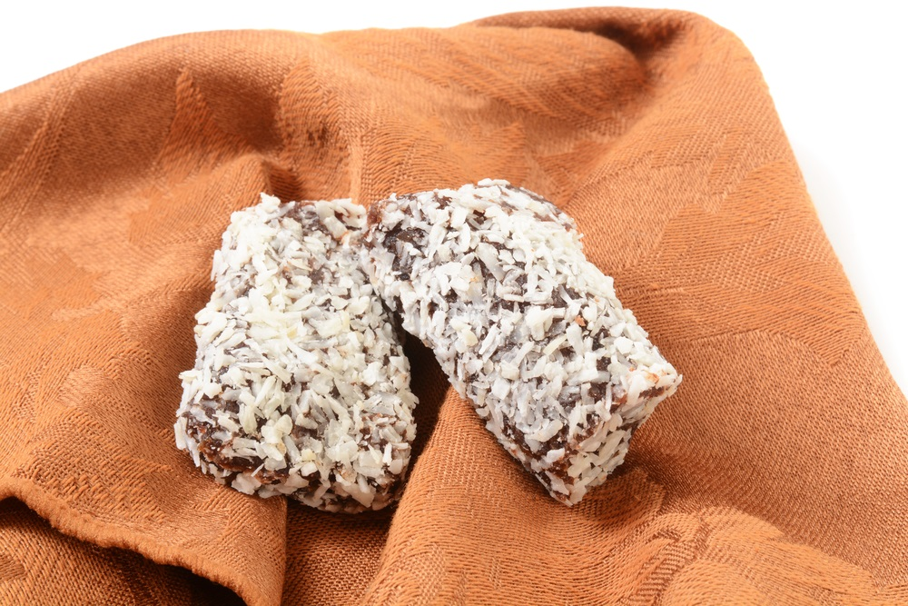 Delicious, healthy date rolls with coconut shavings
