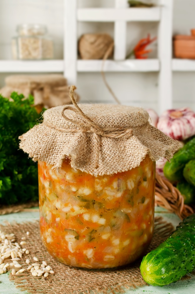 Soup in a jar. Pickle from barley and cucumber