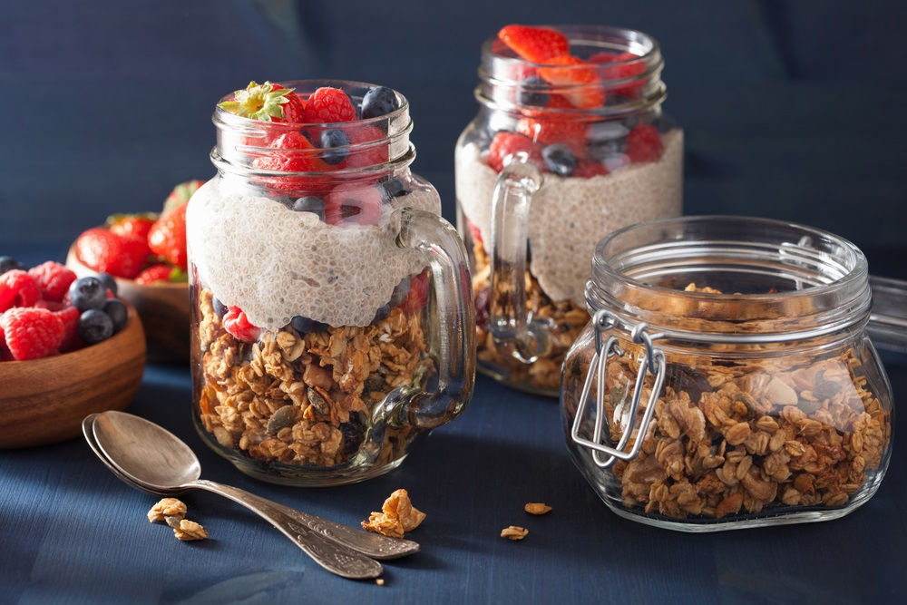 Oats with milk, fruit, & chia seeds.