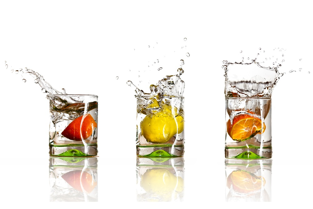 Keeping your hands occupied with holding a glass of water will help reduce the caloric intake of high-fat foods.